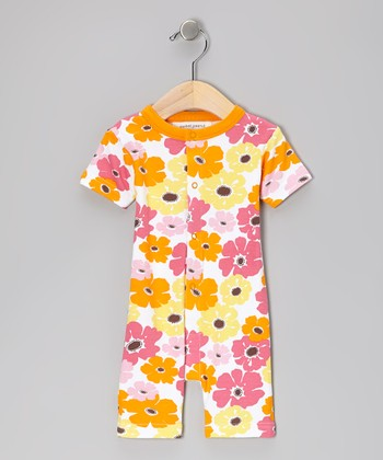 Orange Big Bloom Organic Romper
