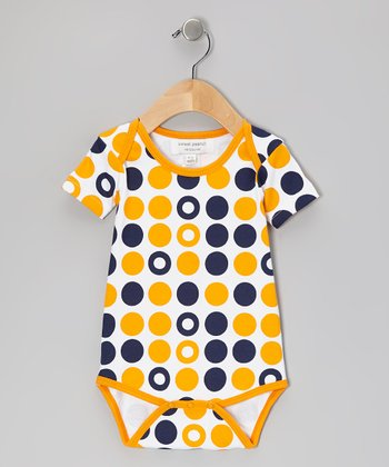 Navy & Orange Dot Organic Bodysuit - Infant