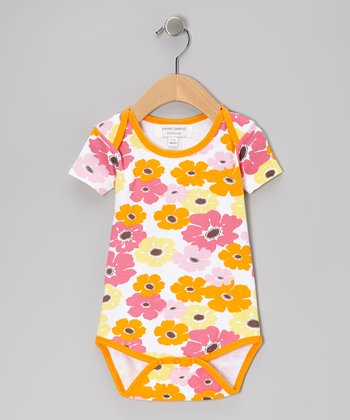 Orange Big Bloom Organic Bodysuit
