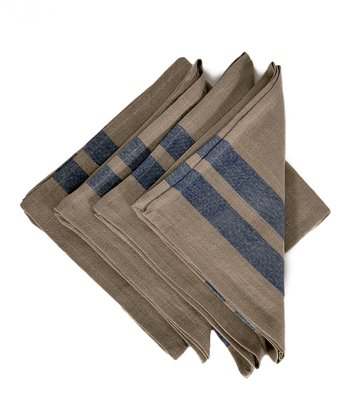Blue & Natural Lille Napkin - Set of Four
