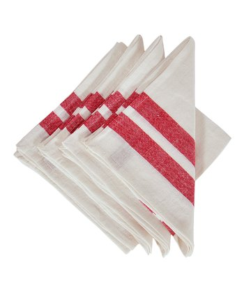 Red & White Lille Napkin -