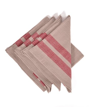 Red & Natural Lille Napkin -