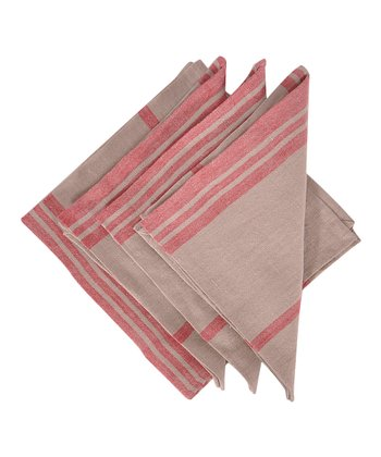 Red & Natural Marseille Napkin -