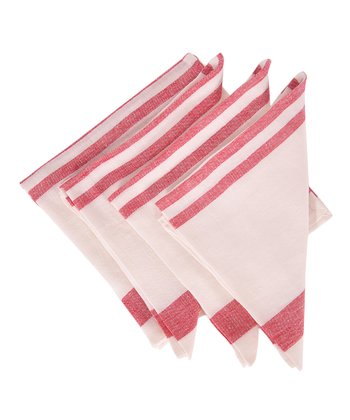 Red & White Chambery Napkin -