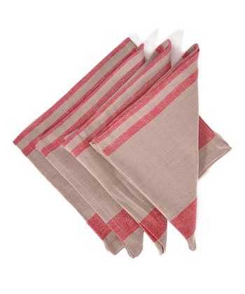 Red & Natural Chambery Napkin -