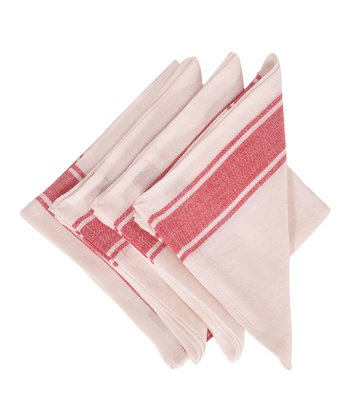Red & White Calais Napkin -