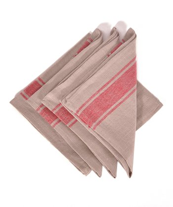 Red & Natural Calais Napkin -
