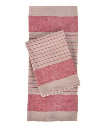 Red & Natural Le Havre Kitchen Towel -