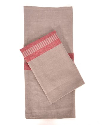 Red & Natural Lorient Kitchen Towel -