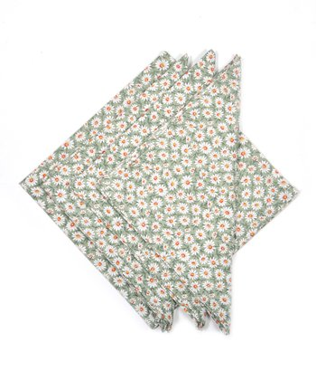 Green Daisy Napkin - Set of Four