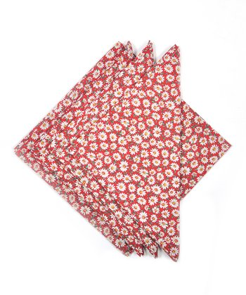 Red Daisy Napkin - Set of Four