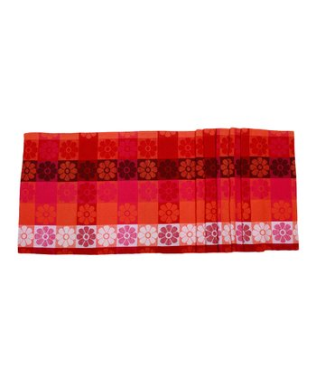 Orange Pop Flowers Table Runner