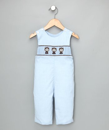 Light Blue Check Monkey Overalls - Infant