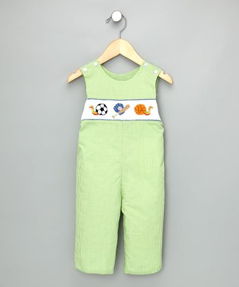 Green Check Sports Overalls - Infant