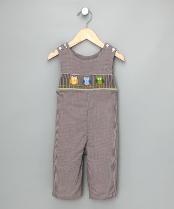 Brown Check Owl Overalls - Infant