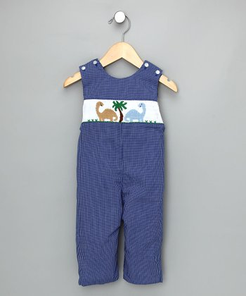 Royal Check Dinosaur Overalls - Infant