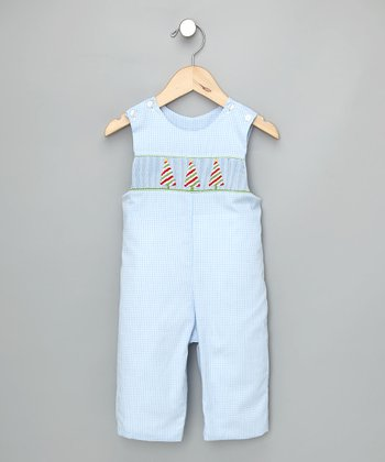 Light Blue Check Christmas Tree Overalls - Infant