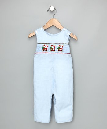 Light Blue Check Skating Santa Overalls - Infant