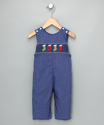Royal Blue Check Stockings Overalls - Infant