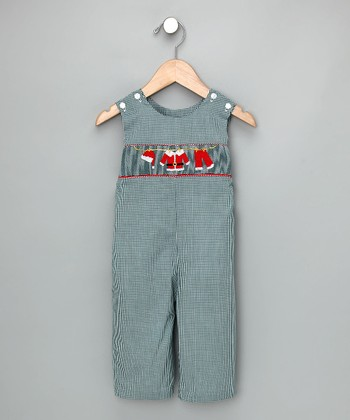 Green Check Santa Suit Overalls - Infant