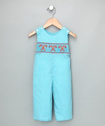 Turquoise Check Candy Cane Overalls - Infant