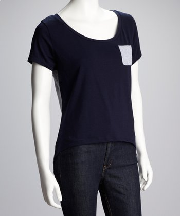 Navy & Heather Gray Hi-Low Tee