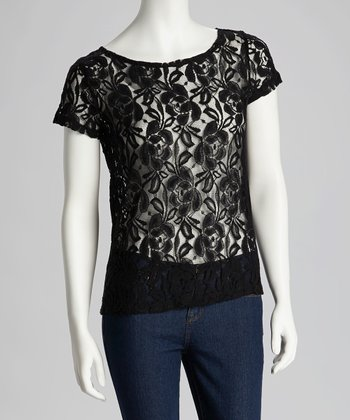 Black Lace Tee - Women
