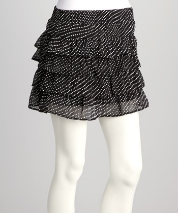 Black Polka Dot Ruffle Skirt