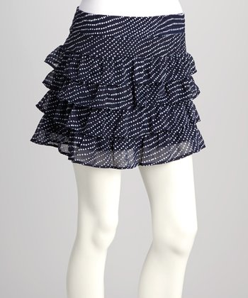 Navy Polka Dot Ruffle Skirt