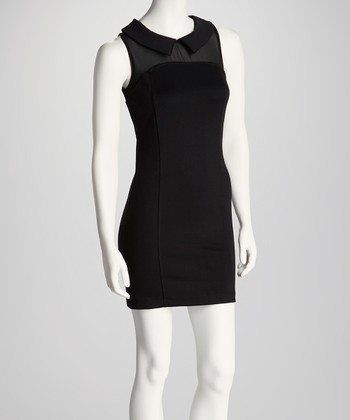 Black Sheer Yoke Sleeveless Dress