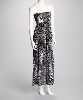 White & Black Cheetah Shirred Strapless Maxi Dress