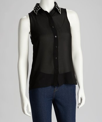 Black Stud Hi-Low Button-Up Shirt - Women