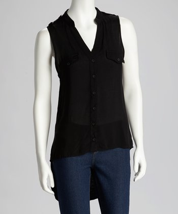 Black Hi-Low Button-Up Top - Women