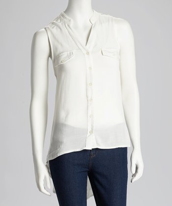 Ivory Hi-Low Button-Up Top - Women