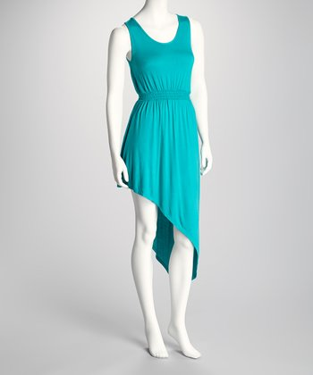 Teal Asymmetrical Hem Dress