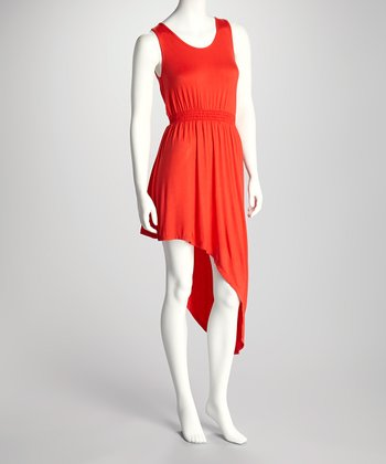 Red Asymmetrical Hem Dress