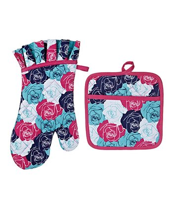 Corsage Pourpre Oven Mitt & Pot Holder