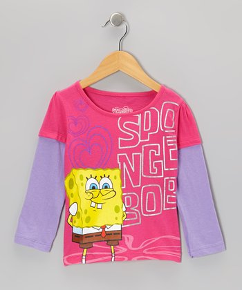 Fuchsia & Purple SpongeBob Layered Tee - Toddler & Kids