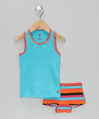 Blue Racerback Tank & Orange Stripe Underwear - Toddler & Girls