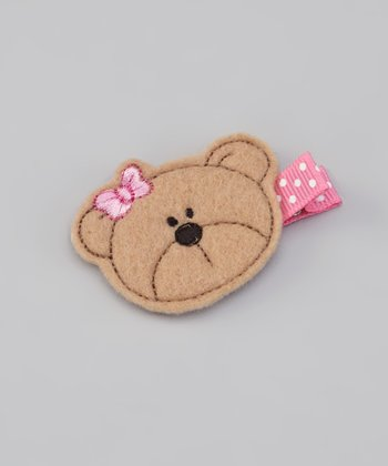 Brown & Pink Bear Felt Clip