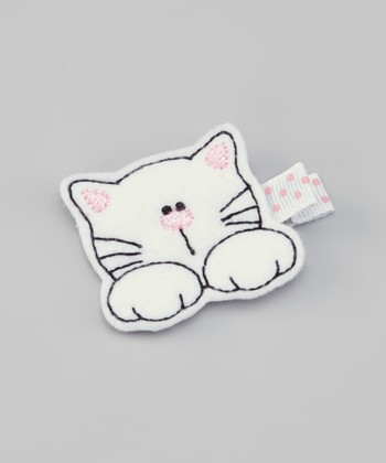 White Kitty Felt Clip