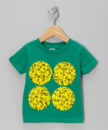Kelly Green Cheetah Circle Tee - Toddler