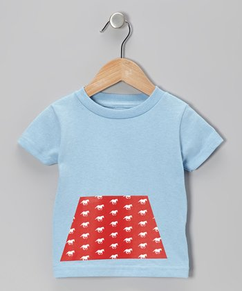 Light Blue Horse Trapezoid Tee - Toddler