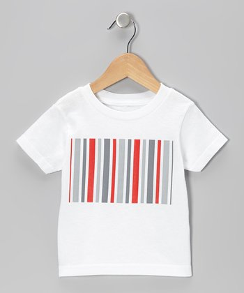 White Stripe Rectangle Tee - Toddler