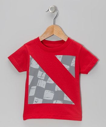 Red Wavy Triangles Tee - Toddler