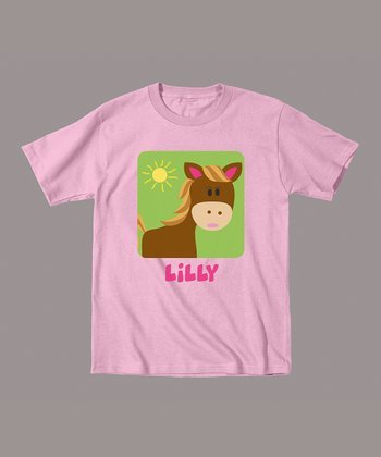Light Pink Horse Personalized Tee - Infant & Toddler