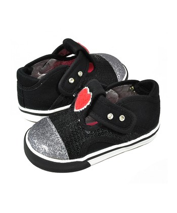 Black & Silver Bedazzled T-Strap Shoe