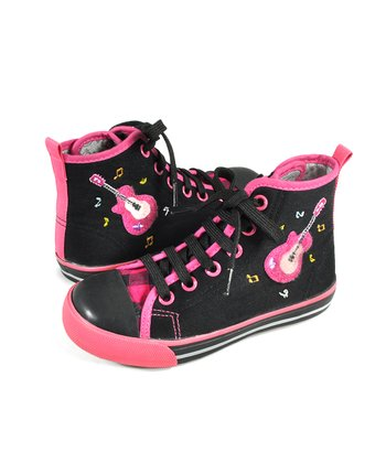 Black & Pink Rocker Hi-Top Sneaker