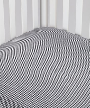 Black Gingham Fitted Crib Sheet - Set of Two