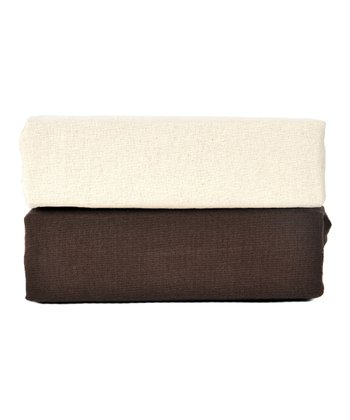 Cocoa Organic Flannel Fitted Crib Sheet Set